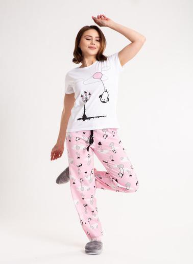 Madame Sare  Kadın Balon Desenli Pembe Pijama Takımı Lacivert